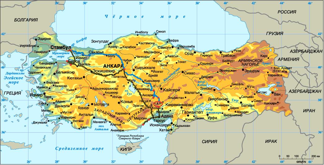 Общая карта Турции с нашим
